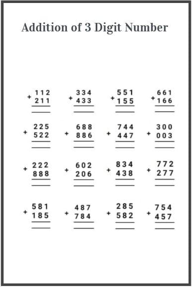 3 digit addition worksheet
