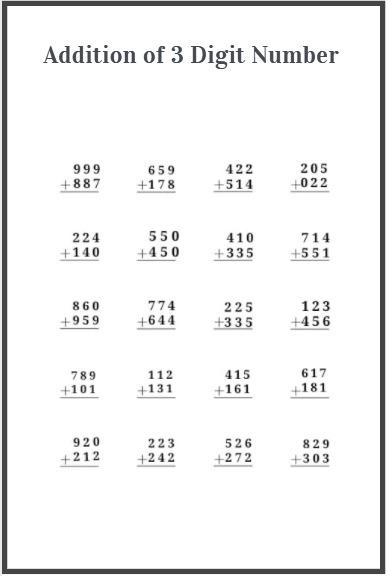 3 digit addition worksheets free download