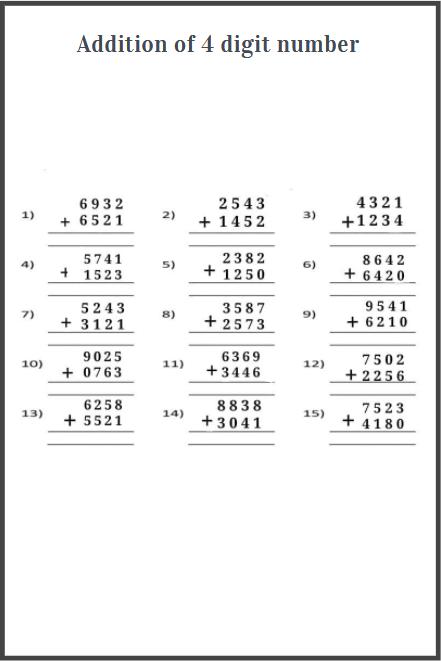 4 digit addition worksheet