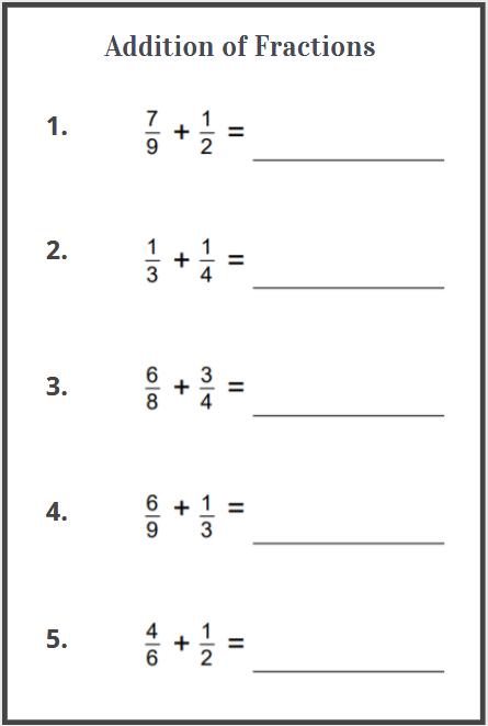 addition of fraction worksheets free download