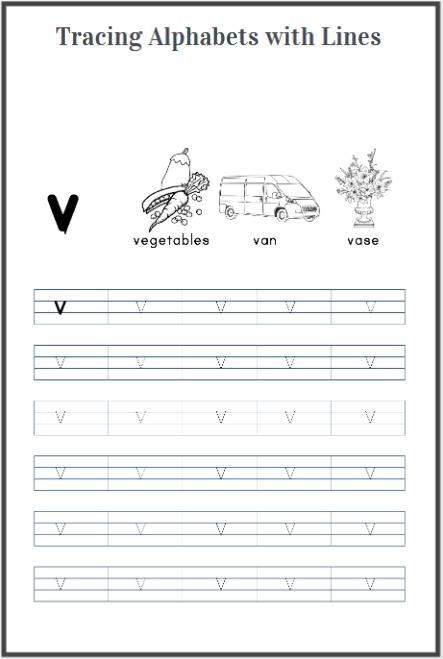 alphabets tracing worksheet