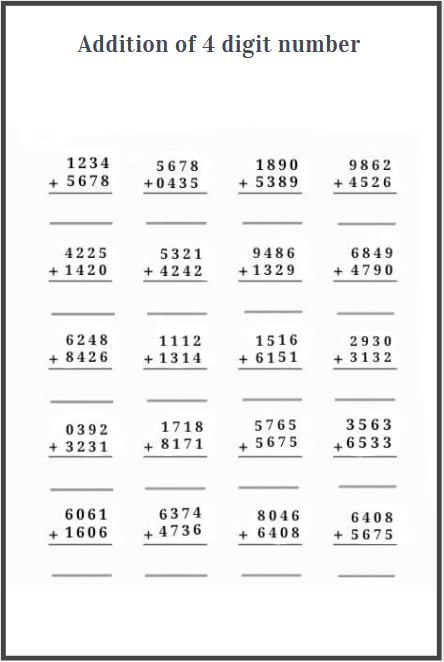 four digit addition worksheets free download
