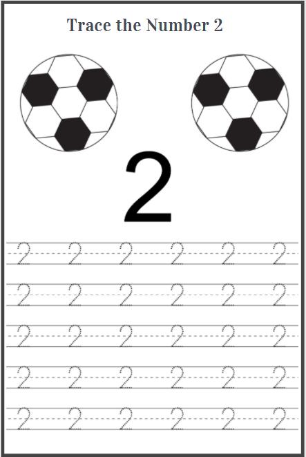 number 2 tracing worksheets