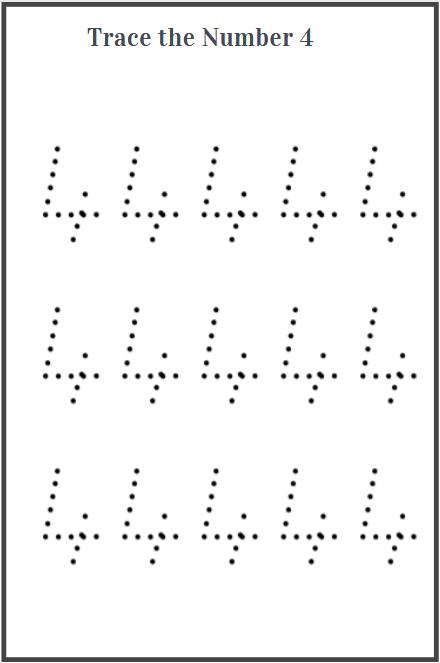 number 4 tracing worksheet printable