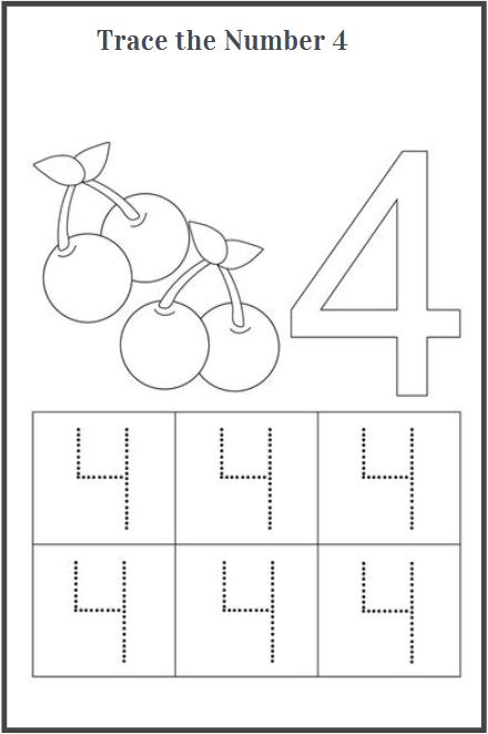 number 4 tracing worksheets for preschool
