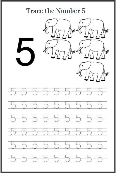 number 5 tracing worksheets for preschool