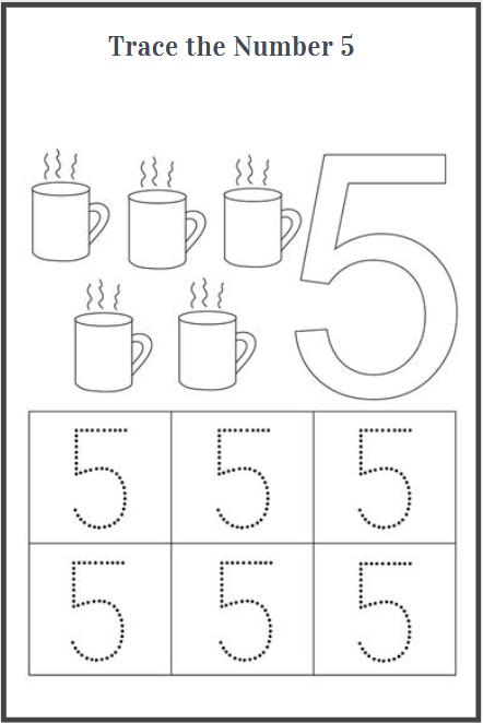 number 5 tracing worksheets printable