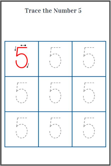 number 5 tracing worksheets