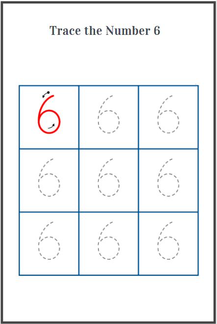 number 6 tracing worksheet for preschool