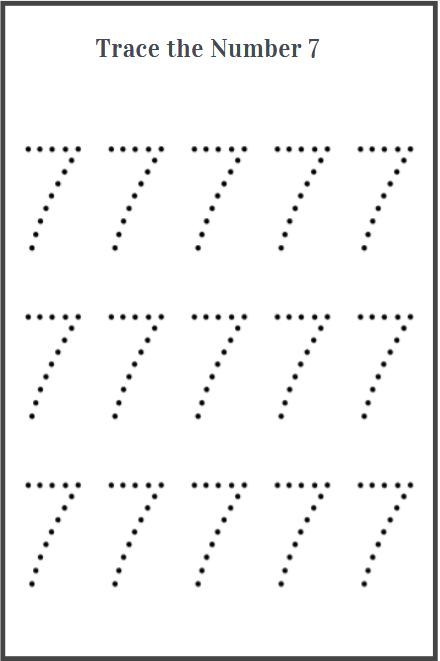 number 7 tracing worksheet for preschool