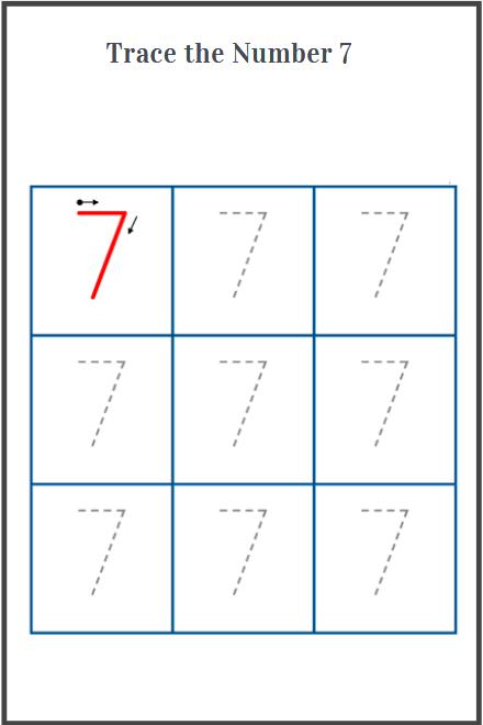 number 7 tracing worksheet printable