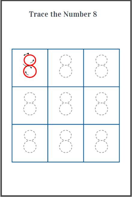 number 8 tracing worksheet for preschool
