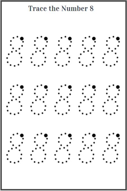 number 8 tracing worksheets printable