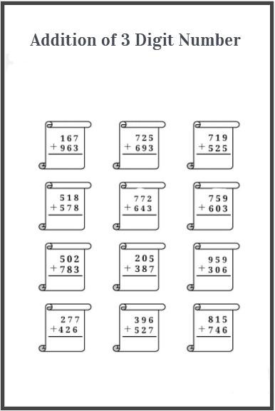 three digit addition worksheet