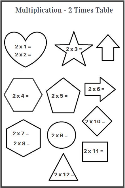 2 times table worksheet printable