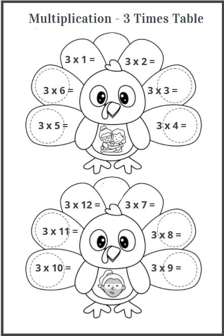 3 multiplication table worksheet