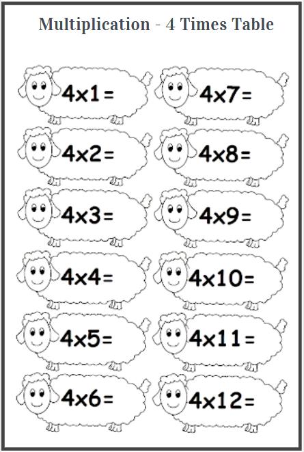 4 times table worksheets printable