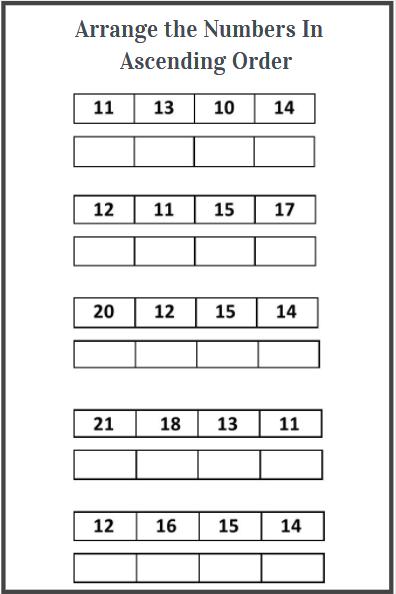 arranging numbers in ascending order worksheets