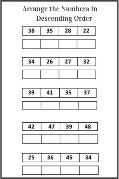arranging numbers in descending order worksheets