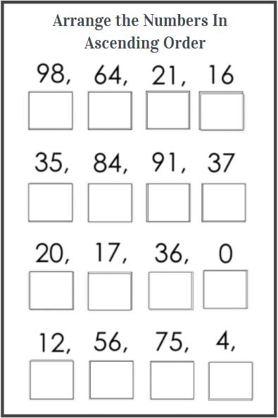 ascending order worksheet for kids