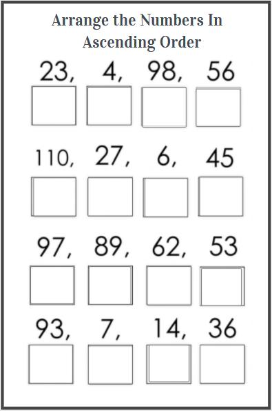 ascending order worksheet