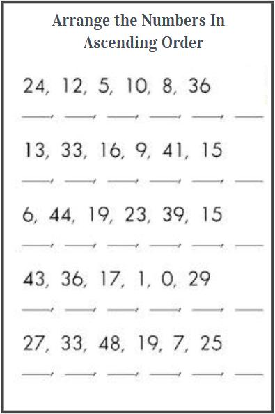 ascending order worksheets