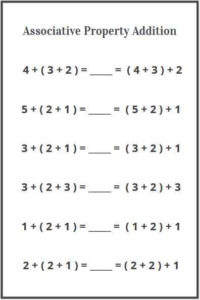 associative property of addition worksheets