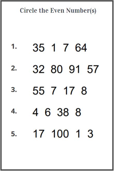 circle even number worksheets