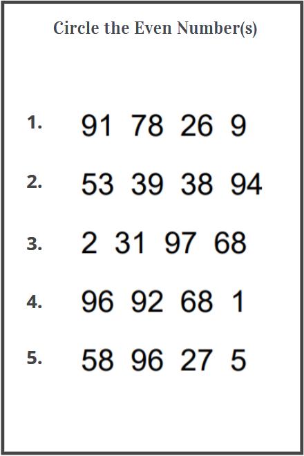 circle even numbers worksheet