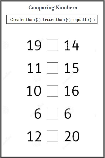 comparing numbers using symbols worksheet