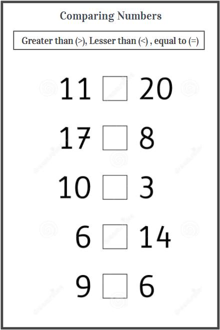 comparing numbers worksheet examples