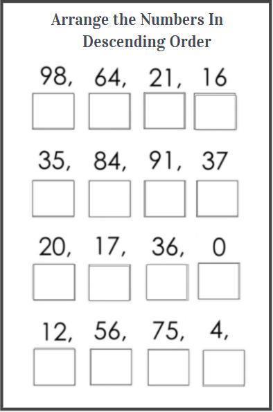 descending order worksheet for kids