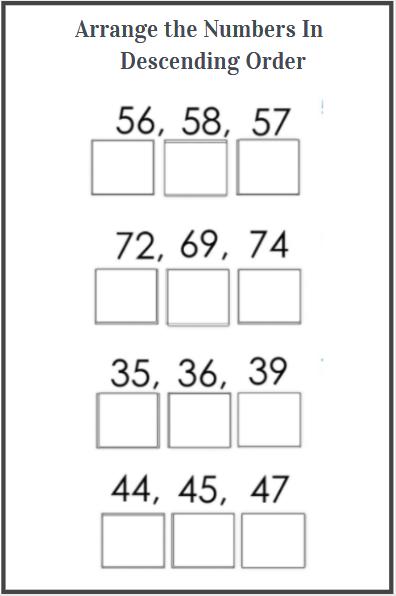 descending order worksheets for kids
