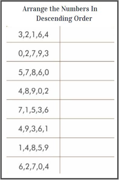 descending order worksheets for kindergarten