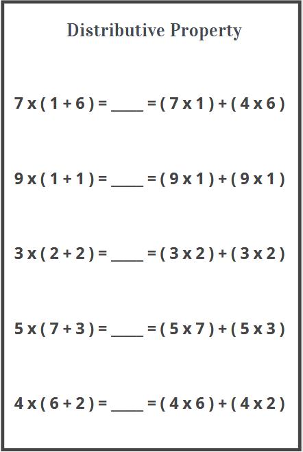 distributive property of multiplication worksheet