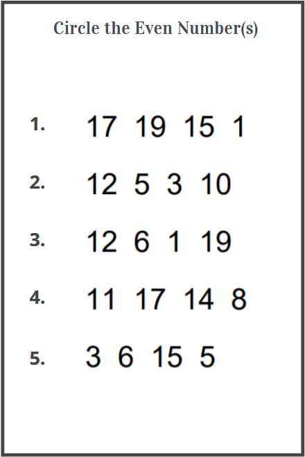 even number worksheets