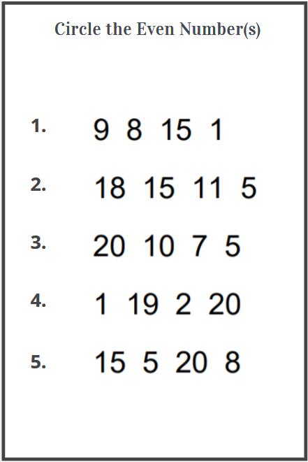 even numbers worksheet for kindergarten