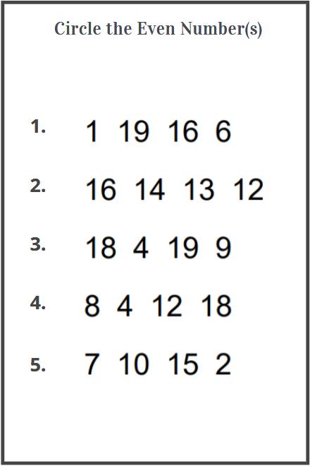even numbers worksheets for kindergarten