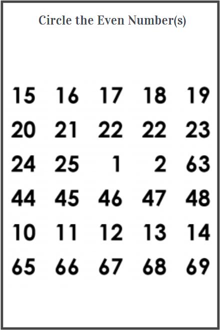 even numbers worksheets grade 1