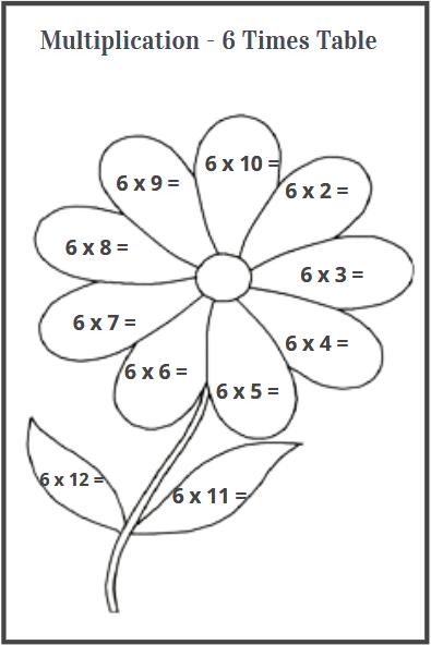 multiplication 6 times table worksheet