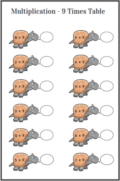 multiplication 9 times table worksheet