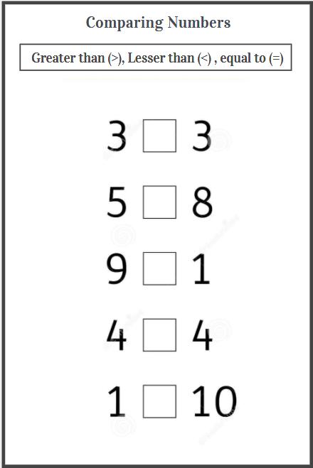 number comparison worksheet