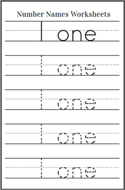 number name 1 worksheet