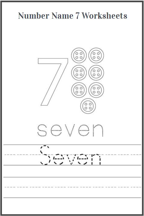 number name 7 worksheets