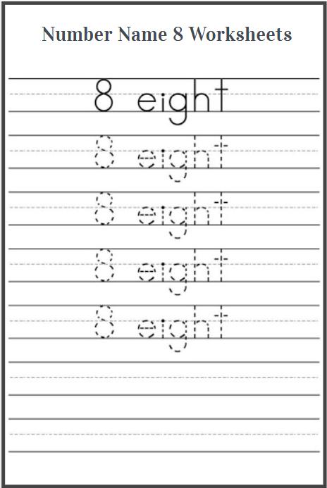 number name 8 worksheet