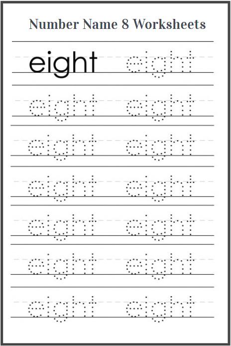 number name 8 worksheets