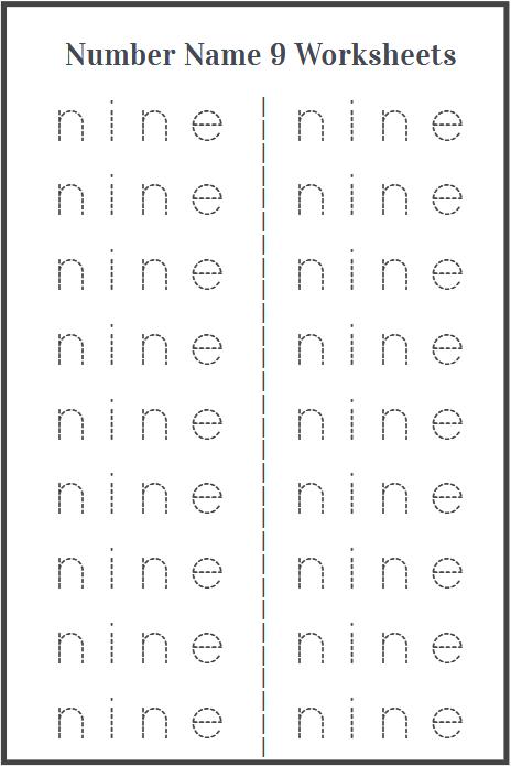 number name 9 worksheet