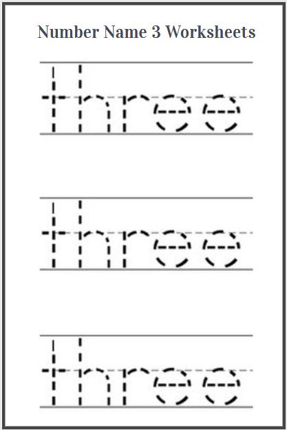 number name three worksheets