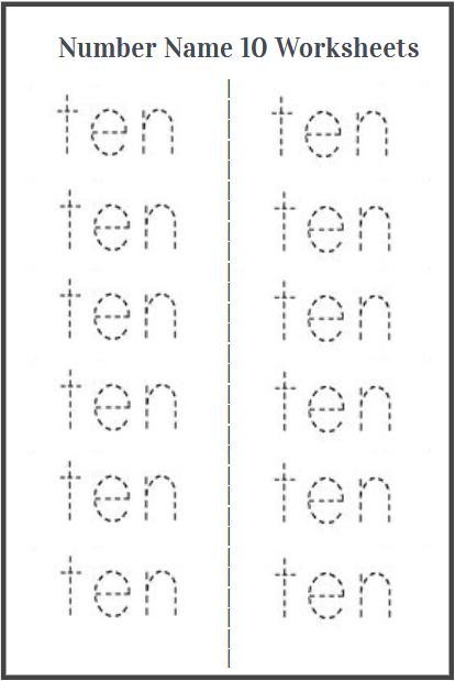 number ten worksheet printable