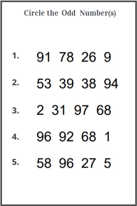 odd and even number worksheets